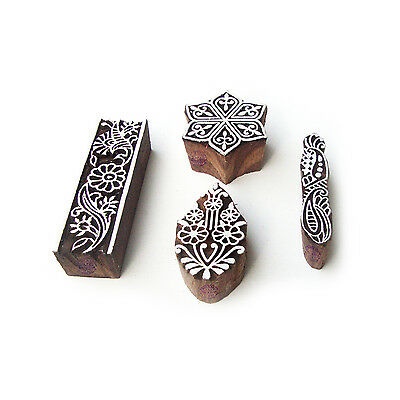 Hexa and Border Jaipuri Designs Wooden Block Stamps (Set of 4)