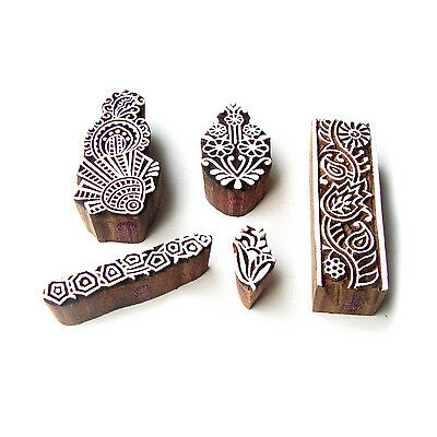 Border and Leaf Designer Designs Wooden Block Stamps (Set of 5)
