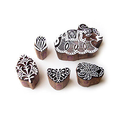 Elephant and Scorpio Decorative Motif Wood Block Stamps (Set of 5)