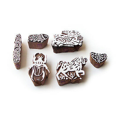 Rabbit and Horse Ethnic Designs Wooden Block Stamps (Set of 6)
