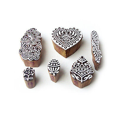 Heart and Floral Exclusive Designs Wooden Block Stamps (Set of 6)