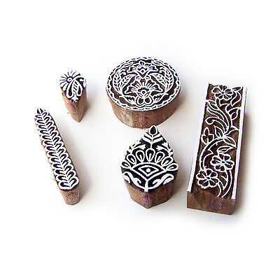 Assorted and Floral Indian Motif Block Print Wood Stamps (Set of 5)