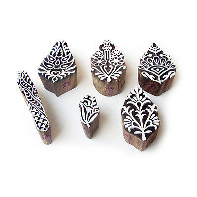 Leaf and Floral Jaipuri Motif Wood Block Stamps (Set of 6)