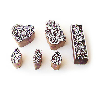 Heart and Floral Designer Motif Wood Block Stamps (Set of 6)