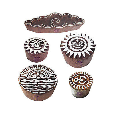 Arty Crafty Motif Cloud and Religious Block Print Wood Stamps (Set of 5)