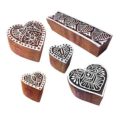 Handcrafted Shapes Heart and Border Wood Block Print Stamps (Set of 5)