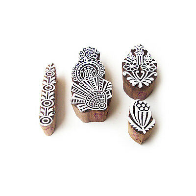 Assorted and Floral Traditional Motif Block Print Wood Stamps (Set of 4)