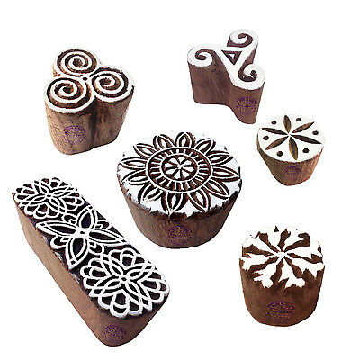 Classy Pattern Floral and Round Wood Block Stamps (Set of 6)