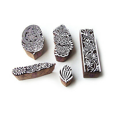 Paisley and Floral Hand Made Motif Wood Block Stamps (Set of 5)
