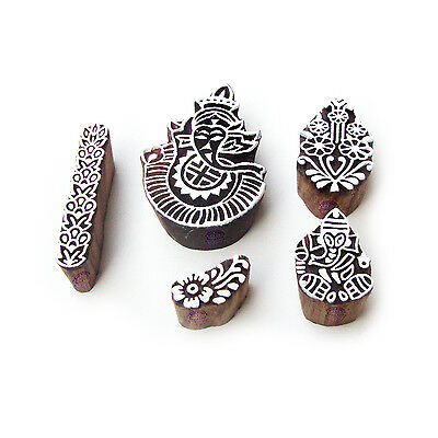 Ganesha and Assorted Hand Carved Motif Block Print Wood Stamps (Set of 5)