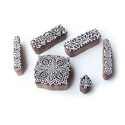 Border and Square Hand Carved Designs Wooden Block Stamps (Set of 6)