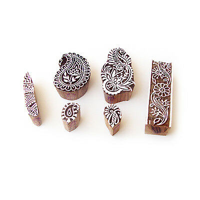 Paisley and Floral Hand Carved Motif Block Print Wood Stamps (Set of 6)