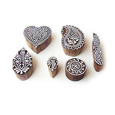 Heart and Paisley Hand Made Designs Wooden Block Stamps (Set of 6)