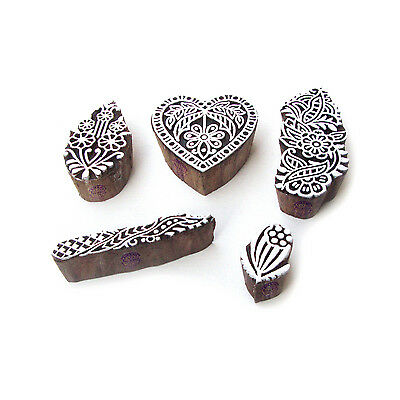 Heart and Floral Elegant Motif Wood Block Stamps (Set of 5)