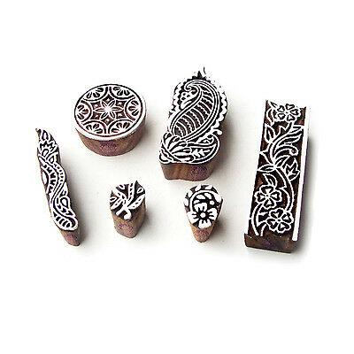 Paisley and Round Ethnic Motif Wood Block Stamps (Set of 6)