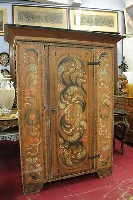 Wonderful Ancient Small Cabinet Of 700 Tyrolean Lacquered And Painted Dated