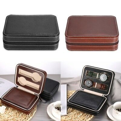4 Grids PU Leather Watches Box Organizer Storage Case Zipper Wristwatch Box
