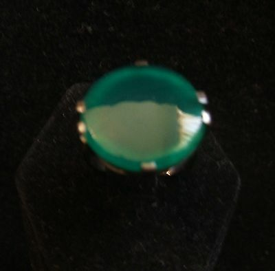 Vintage 1930s Green Celluloid Catalin Bakelite and Sterling Silver Ring
