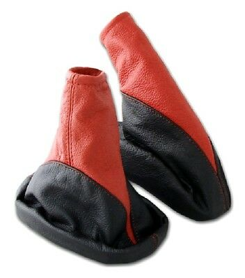 Shift Gaiter + Hand Brake Sleeve OPEL ASTRA G 100% Real Leather Black Red
