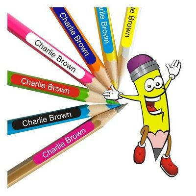 Child's Custom Name Pencil Labels Stickers Book School Childcare Pens Ruler x 60