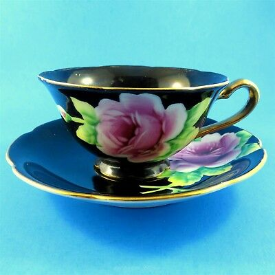 Hand Painted Pink Rose on Black Occupied Japan Tea Cup and Saucer Set
