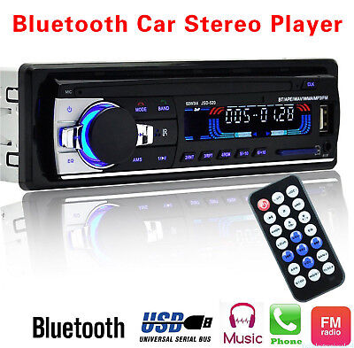 1 DIN Car Stereo 12V FM Radio SD/USB/AUX Bluetooth Head Unit MP3 Player *JSD520*