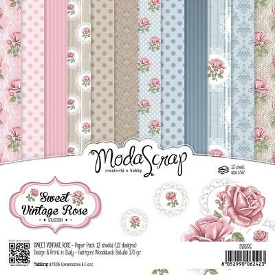 Scrapbooking Crafts 6X6 Paper Pack ModaScrap Sweet Vintage Rose Roses Lace Dots