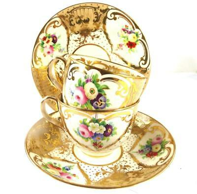 ANTIQUE ENGLISH PORCELAIN TEA COFFEE CUP SAUCER PLATE SET - FLOWERS Pat. 2990 c