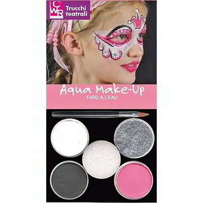 Trucchi Teatrali Set 4 Pasticche Colori  Soft + Pennello E Spugna Make Up