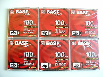 6 x Iomega  BASF Branded ZIP 100MB Disks With Cases - PC Format - New Sealed
