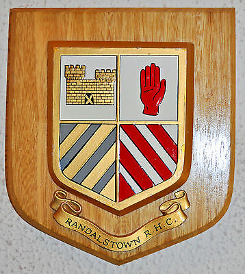 Randalstown Rugby and Hockey Club wall plaque shield crest coat of arms Antrim