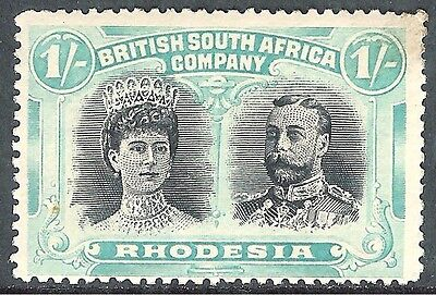 Rhodesia 1910 black/pale-blue-green 1/- mint SG152