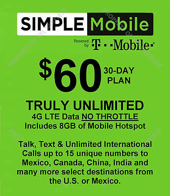 Simple Mobile preloaded SERVICE with $60 dollar plan (NO SIM CARD PROVIDED)