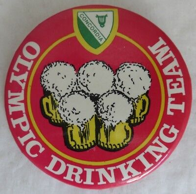 Vintage Concordia Olympic Drinking Team Pin Pinback Button            (Inv14727)