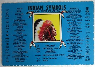 Vintage Indian Symbols And Their Meanings Unused Postcard             (Inv14811)