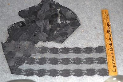 black lace wide flat trim yards 4.5 x 80 in.  unused millinery dress antique