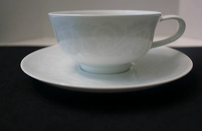 "Easterling "" Double Damask"" Tea Cup And Saucer 6 1/4"" White Porcelain Germany"
