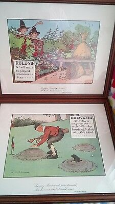 2 x LARGE  CHAS CROMBIE FRAMED UNDER GLASS NOVELTY GOLF PRINTS XVIII &V11