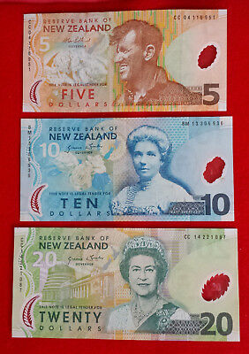 *Lot of 3 New Zealand 5,10,20 Dollars Clean Circulated Bills Banknotes Currency*