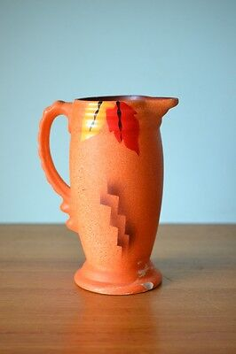 Art Deco ceramic Jug England vintage orange display pur1