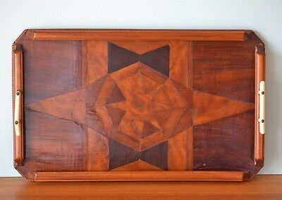 Vintage Art Deco wooden inlay tray serving tray display 1920s old