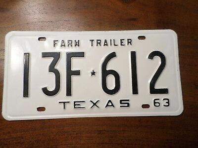 "1963 TEXAS ""Farm TRAILER"" LICENSE PLATE  New Old Stock NOS"