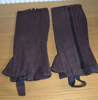Brand New * Horseworks * Amara Suede Washable Half Chaps * Childs Large * Brown