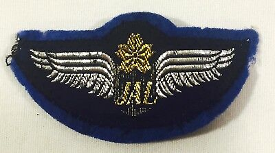 Vintage JAL (Japan Airlines) Embroidered Felt Patch Badge with Clip