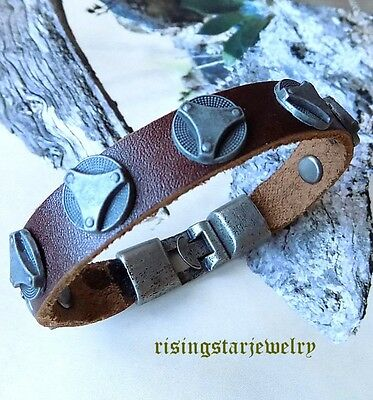 Men Cool Metal Studs Motorcycle Rider Surfer Leather Hip Hop Bracelet Wristband