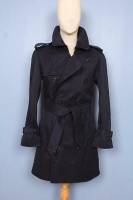 Superb Mens BURBERRY Double Breasted Short TRENCH Coat Mac Navy Size 36