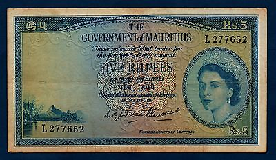 Mauritius Banknote 5 Rupees 1954  VF
