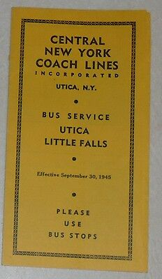 Central New York Coach Lines - 1945 timetable - Utica - Little Falls
