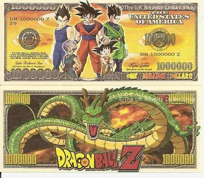 Dragonball Z Power Level Million Dollar Bills x 4 New