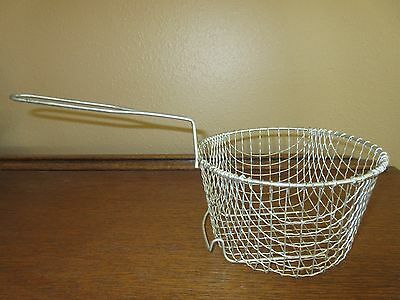 "Vtg 7"" Fry Basket Stainless Steel Basket W/ Drain Hook And Wire Handle"